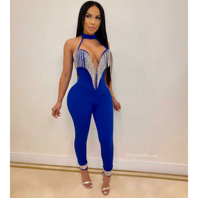Brielle crystal glam jumpsuit (Royal)