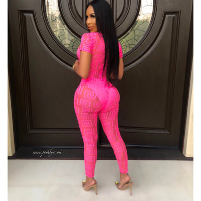 Cole mesh jumpsuit set (Pink)
