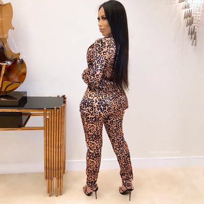 Lola leopard jacket set (Brown)