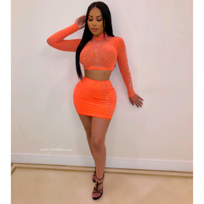 Kamara crystal skirt set (Orange)