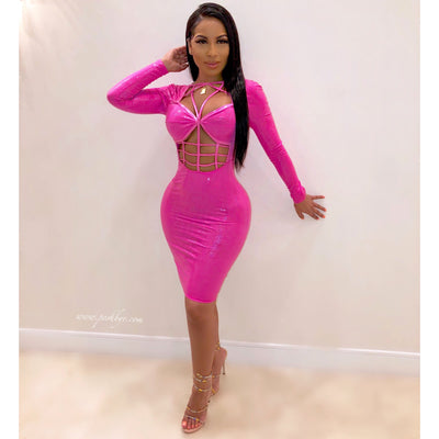 Kimlee caged glam dress (Pink)