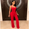 Larsa caged palazzo jumpsuit (Red)