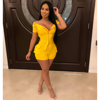 Gem belted romper (Yellow)