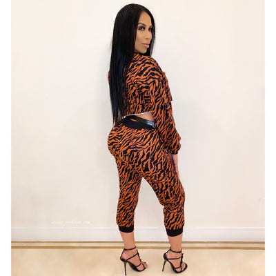 Zebra crop jogger set (Black/rust)