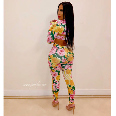 Lily 3/piece pants set (Yellow multi)