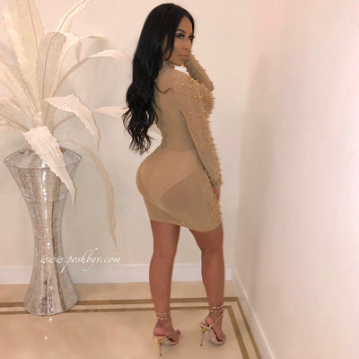 Gold Pearl Mini Dress (Nude)