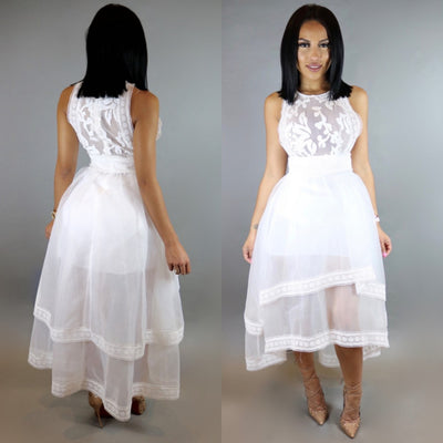 Mariah Sheer Dress (White)