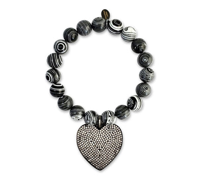 Crystal Heart Bracelet/ Black & White Malachite Stone