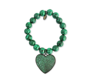 Green Malachite Heart Bracelet