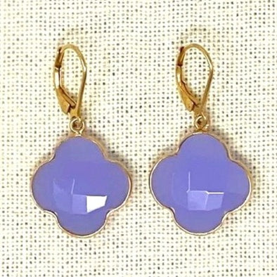 Candy Clover Lavendar Chalcedony Earrings
