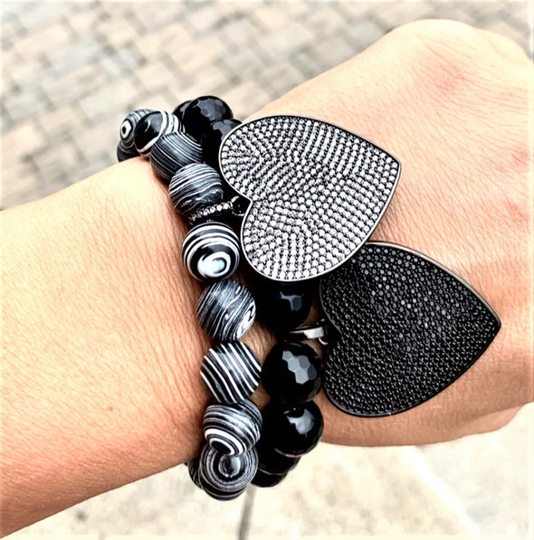 Crystal Heart Bracelet/ Black Onyx