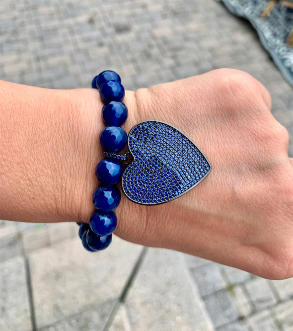 Navy Crystal Heart Bracelet/Blue Agate