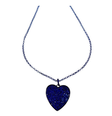 Navy Crystal Heart Necklace