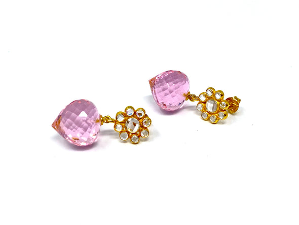 Daisy Pink Quartz Earrings