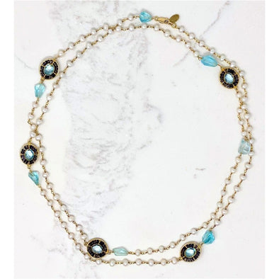 Topaz Pearl Medallion Necklace