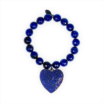 Crystal Heart Bracelet/Blue Agate