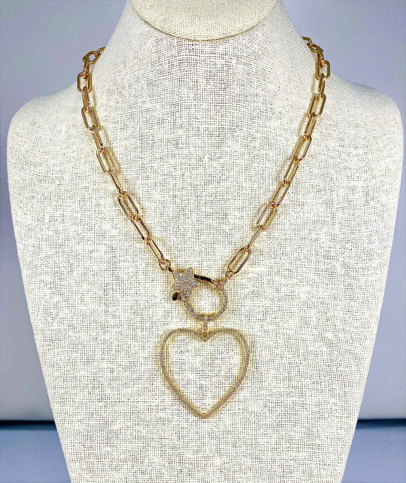 Star Open Heart Gold Necklace