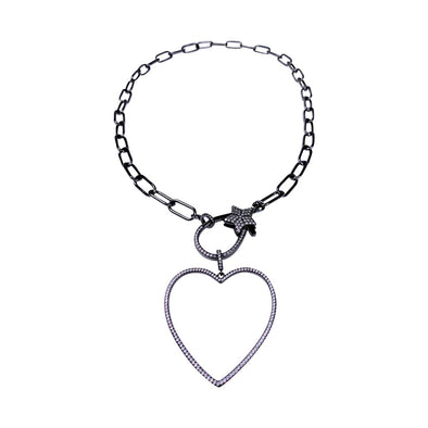 Star Heart Black  Necklace