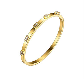Baquette Crystal Gold Bangle