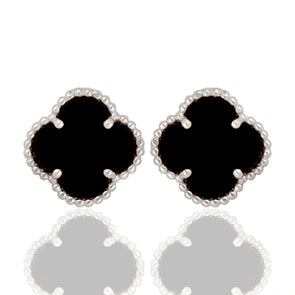 Clover Black Onyx | Earrings at ValentineRouge.com | Timeless Jewellery