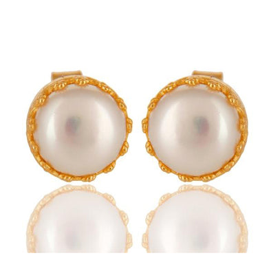 Filigree Pearl Gold Studs