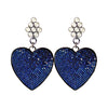 Navy Crystal Heart Earrings