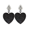 Black Crystal Heart Earrings