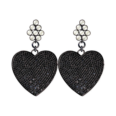Black Crystal Heart Drops