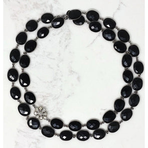 Black Onyx Flower Necklace
