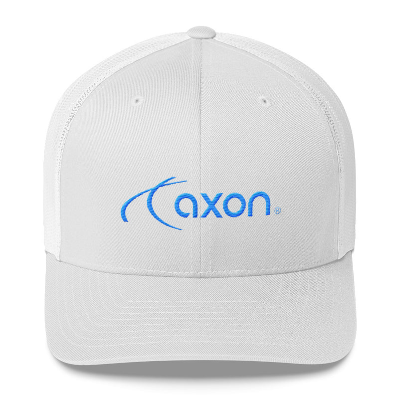 Axon White Trucker Cap Blue Logo
