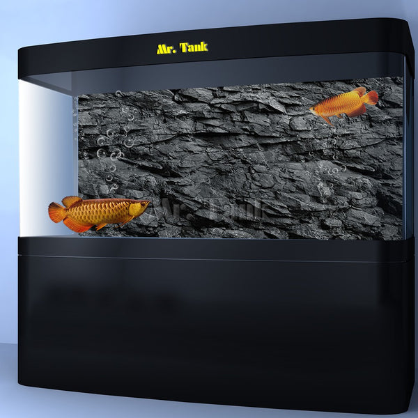Mr.Tank 3D Effect Black Stone Texture Aquarium Background Poster