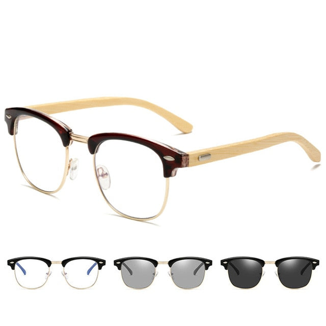 Men Wood bamboo Photochromic Computer Glasses Women Wood Grain Blocking UV Anti Blue Light Eye Eyestrain Gaming Glasses 3016