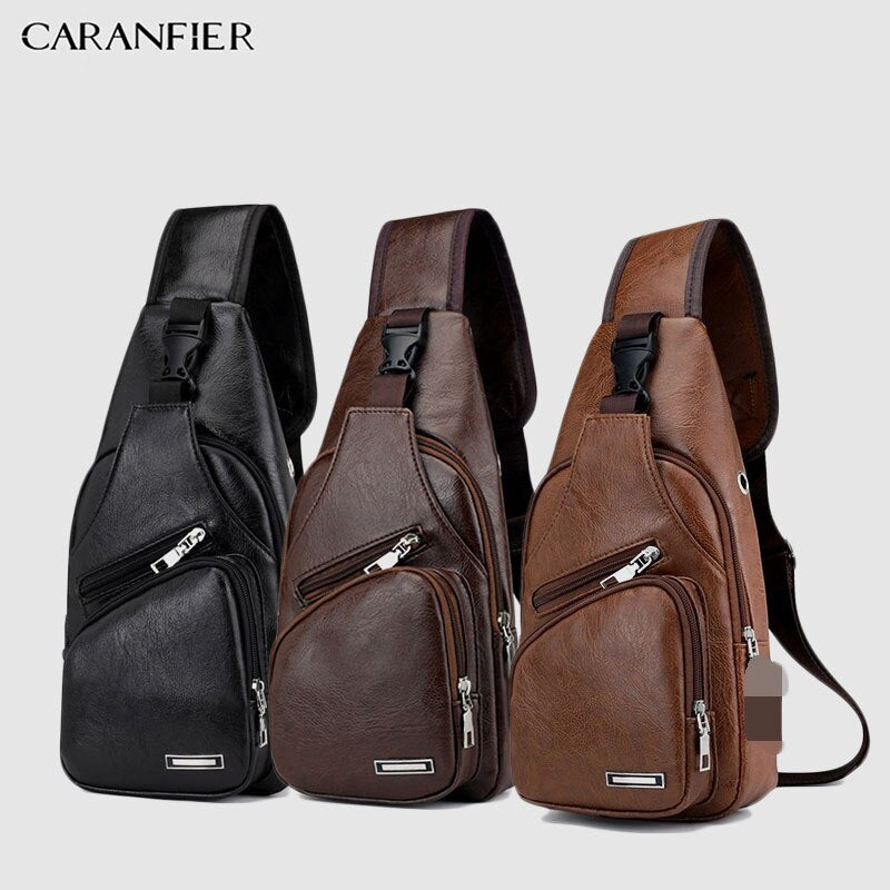 CARANFIER Mens Shoulder Chest Bag