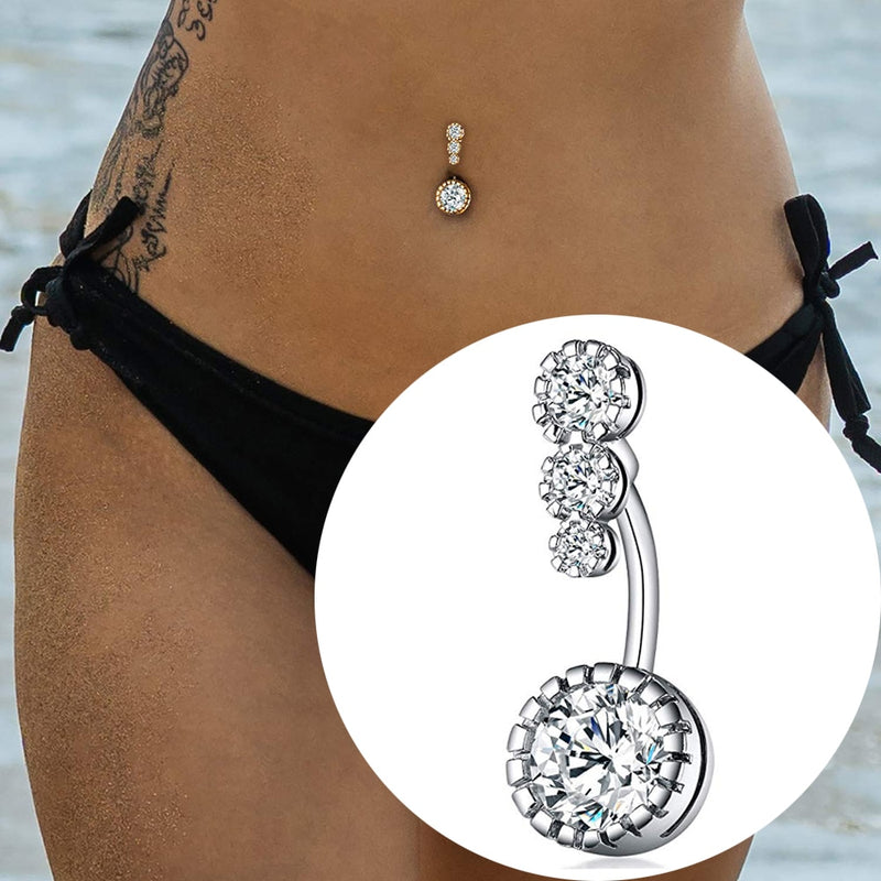 4 Crystal CZs Belly Button Rings