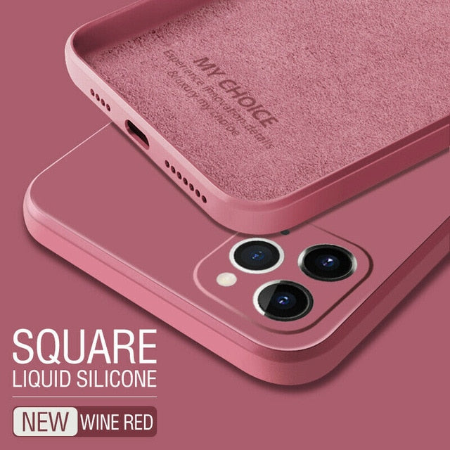 Luxury Original Square Liquid Silicone Phone Case