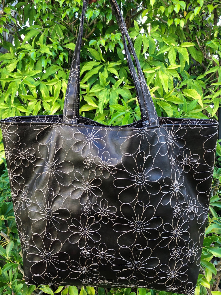EMBROIDERED DARK BROWN FLORAL