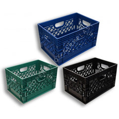 Rectangular Milk Crates     3-Pack. Black, Blue, and Green Colors.