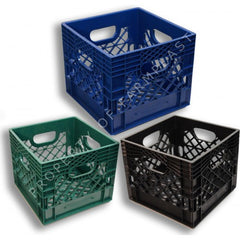 Square Milk Crates   3-Pack. Black, Blue, and Green Colors.