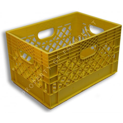 Yellow Rectangular Milk Crate