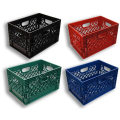 Rectangular Milk Crates    4-Pack. Black, Blue, Green and Red Colors.