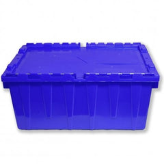 Heavy-Duty Plastic Tote w. Attached Lid - Storage Container