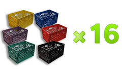96 Rectanglular Milk Crates Pallet available colors (black, blue, red, green, violet)