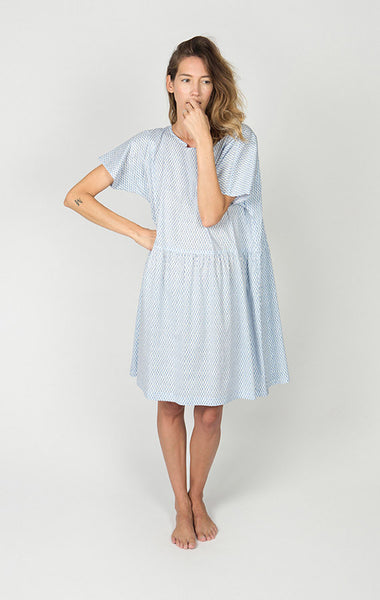 Brookes Dress, Blue Checkers, Cotton Lawn