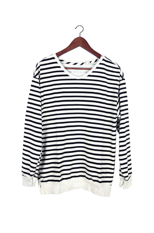 #88 Sweatshirt Tee, Cream Black Lines