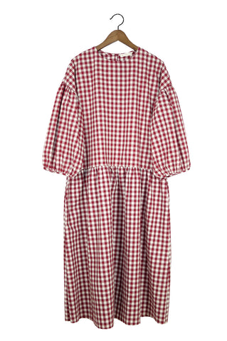 May Dress, Burgundy Gingham