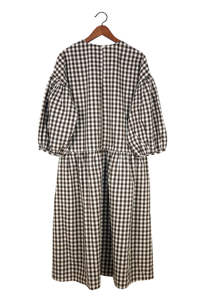 May Dress, Brown Gingham