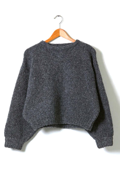 Balloon Sleeve Sweater, Charcoal, Alpaca