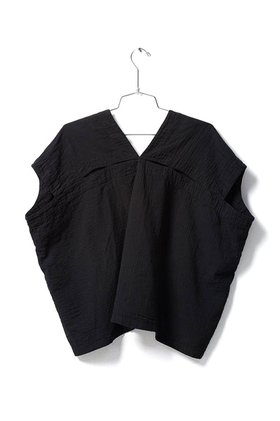 Celeste Top, Black, Wrinkled Cotton