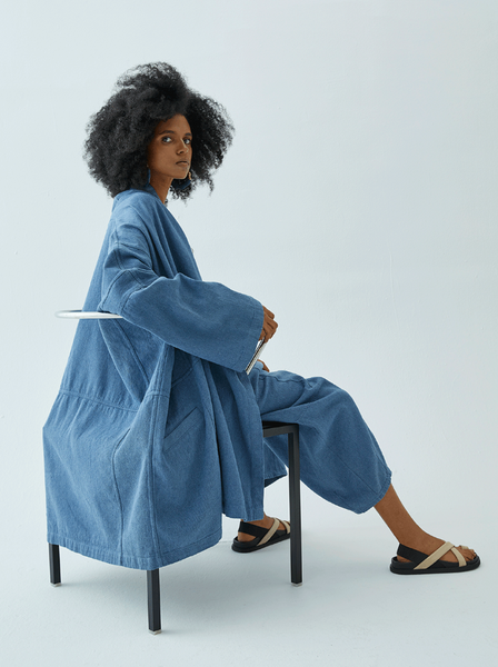 Haori Coat, Upcycled Yarn, Denim