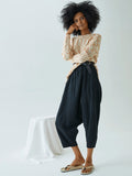 Kiko Pant, Black, Wrinkled Cotton
